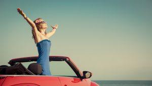 women in her new ontario car